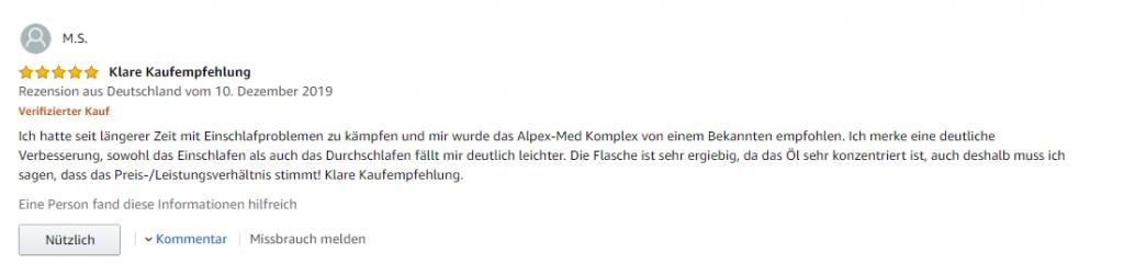 zweiter Erfarungsbericht Alpex CBD